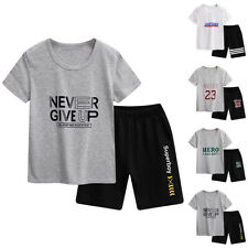 Kids Boys Outfit Short Sleeve Printed Tops Shorts Pants Sport Clothes Sets Comfy