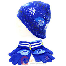 Disney Insideout Sadness Beanie Knitted Hat with Gloves Snow Flakes Intrasia