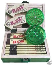 RAW Wooden Rolling Storage Box Set Classic Smoking Papers Grinder Tips Rolls