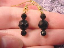(EE-471-P) 4 + 8 mm bead Black onyx Brazil gemstone dangle gold hook earrings