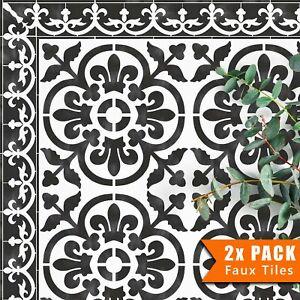 2x Faux Tile Stencils - Paint Tile Effect on Floors Walls Garden Patios Valencia