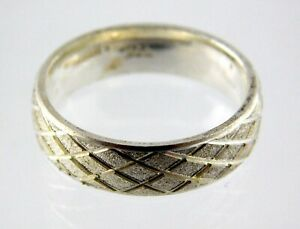 Sterling Silver Textured Criss Cross Band Ring 925 Repeating Design Size 6.75