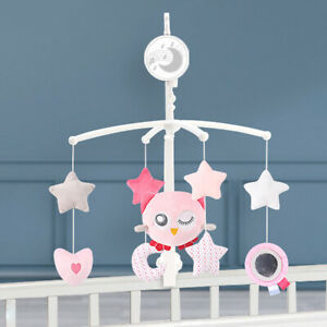 Kids Baby Musical Crib Bed Bedside Bell Cot Rotating Moon & Star Dream Night Toy