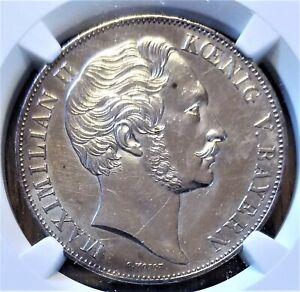 German States 1855 Bavaria 2 Gulden Coin - Madonna - polished - NGC Unc Details