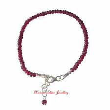 "Natural Garnet Beads Bracelet Maximum 8"" (20 cm) Made in 925 Sterling Silver"