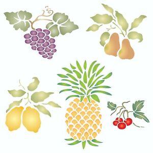 Fruit Stencil Pear Grape Cherry Pineapple Lemon Fruit Stencils