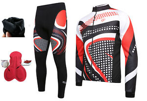 Men's Cycling Jersey Cold Wear Thermal Top+Cycling Tights Pants For Winter