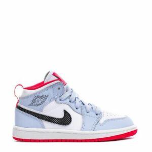 Nike Air Jordan 1 Mid SE (PS) Black White Sky Blue Walking 640737-400 Kids 12C