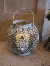 Metal Lantern Candle Holder / Shabby Chic Lantern / Vintage Style, Grey