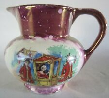 Old GRAY'S Pottery England Mini PURPLE LUSTER PITCHER Creamer Men carrying Lady