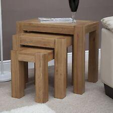 Pemberton solid oak living room furniture nest of three coffee tables