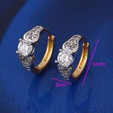 """9ct 9K Yellow & White """"Gold Filled"""" White Stone Small Hoop Earrings. 14mm,1206"""