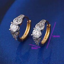"9ct 9K Yellow & White ""Gold Filled"" White Stone Lovely Small Hoop Earrings. 14mm"
