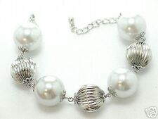 Blue Simulated Pearl Silver Tone Beaded Link Bracelet