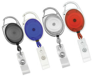 10 CARABINER RETRACTABLE ID BADGE HOLDER - FREE SHIPPING