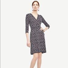 Ann Taylor M 8 P Black White Wrap Petal Dress 3/4 sleeve Career Cocktail Wow