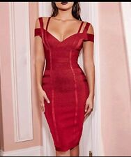 Wine Red Bodycon Rayon Bandage Dress XS (6-8), S (8-10) evening formal