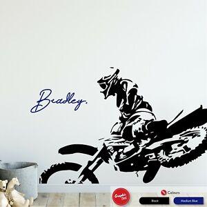 Personalised Motocross Wall Art Sticker Boys Dirt Bike Bedroom Vinyl  Decal