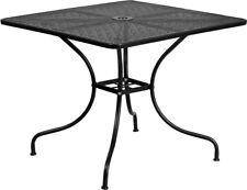 35.5'' Square Indoor-Outdoor Restaurant Patio Table in Black Steel Metal