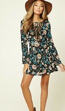 NWT Forever 21 - New Crochet Fit And Flare Floral Bohemian Dress Size M Medium