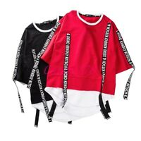 Fashion Mens Leisure Strappy Pullover Punk Hip Hop Street Dancing Oversize Shirt