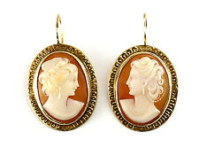 14k Gold & Shell & Hard Stone Cameo Earrings Side Profile of Female w/ Pearls
