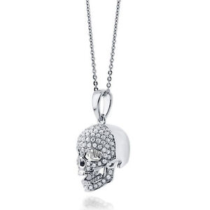 Sterling Silver Skull Pendant Necklace with CZ stones perfect Christmas gift