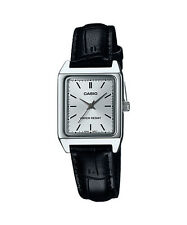 Casio Women's Black Leather Strap Watch, Silvertone Dial,  LTP-V007L-7E1