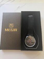 MEGIR Black Chronograph Mesh Band Wrist Watch