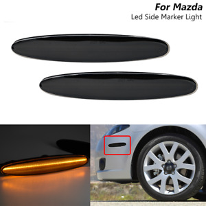Smoked Lens Amber LED Front Side Marker Light For Mazda 6 Mazda6 GG GY 2003-2008