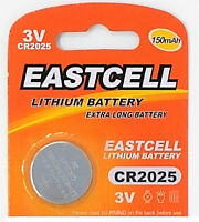 20 x CR2025 3V Lithium Batterie 150 mAh ( 4 Blistercard a 5 Batterien ) EASTCELL