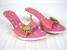 Diego Di Lucca Pink Multi Wooden Open Toe Heels Shoes Womens Size 8