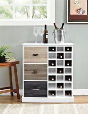 White Wooden Wine Rack Storage Cabinet Home Bar Glass Liquor Holder 21 Bottles
