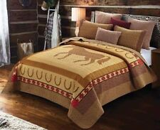 COUNTRY WESTERN HORSE Full Queen QUILT SET : COWBOY HORSESHOE BROWN SOUTHWESTERN