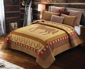 COUNTRY WESTERN HORSE 3pc King QUILT SET : COWBOY HORSESHOE BROWN SOUTHWESTERN