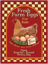 Fresh Farm eggs, Vintage Advert Cafe Kitchen Chicken Shop, Large Metal/Tin Sign