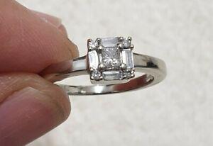9ct 375 DIA White Gold 0.25ct Diamond Princess Square Engagement Ring