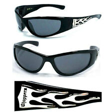 New Choppers Bikers Mens Wrap Sunglasses UV Protect - Shiny Black Frame C19