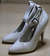 PLEASER weiße Lack Pumps mit Fesselriemen, High Heels, Gr. 37, NEU
