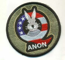 "Q Anon 3"" Patch Follow the white Rabbit USA Flag Qanon Sticker embroidered Trump"