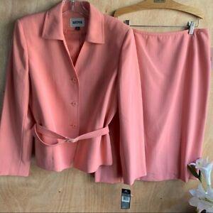 KASPER 2 Piece Skirt Belted Pinstripe Set NEW Size 12