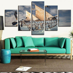 Sky And Spaceship Canvas Prints Painting Wall Art Poster Decor No Frame 5 Pieces