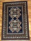 Hand Knotted Rug Kuba Lesghi Star 66x44 Hand Woven Red Blue Brown