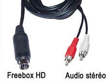 Cable audio stéréo mini-din 9 broches pour Freebox HD vers 2 rca male L=1.5m
