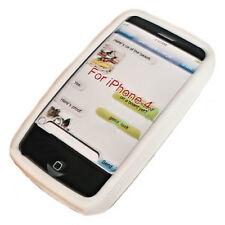 BUMPER FRAME SILIKON TPU CASE COVER für  iPhone 4G + Displayschutzfolie in  WEIß