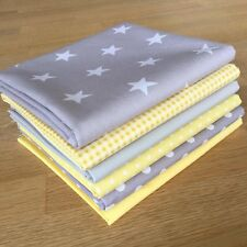Blender fabric GREY & LEMON YELLOW b Cotton Fat Quarter Bundle SPOT STAR Gingham