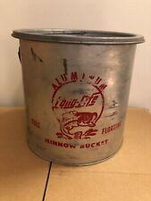 Vintage Long-Life Aluminum Minnow Bait Bucket Full Floating