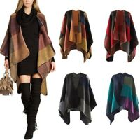 WOMENS LADIE'S PONCHO CAPE WRAP SHAWL ONE SIZE KIMONO KNITTED SWING COAT&BLANKET