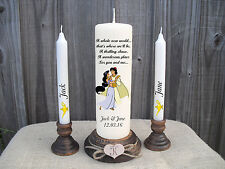 Personalised Wedding Unity Candle Set Disney Aladdin Gift Keepsake Centrepiece