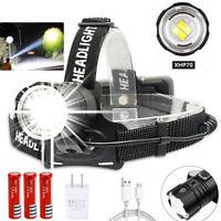Super Bright 200000LM T6 LED Headlamp Headlight Rechargeable Head Torch Light UU
